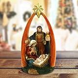 Bakaji Presepe Sacra Famiglia con Arco in Resina Natività 26cm Decorazioni Natalizie
