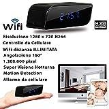 SVEGLIA TELECAMERA SPIA CON MICROCAMERA INTEGRATA CAM NIGHT VISION NASCOSTA 3G WI FI WIFI CW147 (MICRO SD NON INCLUSA)