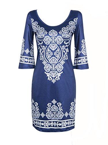 LaoZan Robe Courte Imprimée avec Grand Col et 3/4 Manches pour Toutes les Femmes Bleu