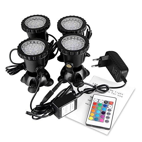 Spot Light 36 LED Unterwasser Spot Licht IP68 wasserdicht Aquarium Teich Fisch Tank Beleuchtung mit EU Stecker (Set von 4 Lichter) Wasserdichte Beleuchtung