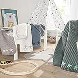 Babydecke Ibena Lelu 1750 / Kinderdecke mint/grau / Schmusedecke 075x100 cm mit modernem Streifenmuster und kleinen Sternen / Hochwertige und kuschelig weiche Markenqualität / in verschiedenen Farben erhältlich