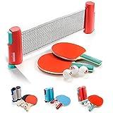 Set 1 Rete 2 Racchetta da Ping Pong e 3 Palline Portabile Reti Ping-Pong Estendibile Lunghezza Regolabile Fino a 170 cm Accessorio Racchetta Tennis Tavolo (Sunset, Blu)