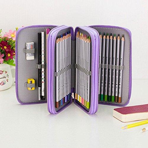 ELECTROPRIME® 3 Layers Large Pencil Pen Case Eye Brush Makeup Storage Bag 55 Holes Purple