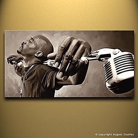 Rakim Hip Hop Rap originale Artista firmato pittura poster Stampa Su Tela # 1, Tela, 18