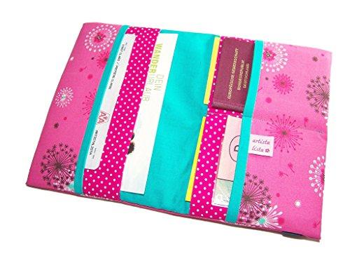 Reiseorganizer Reiseetui Pusteblume pink Etui für Dokumente Ausweistasche mit eReader Handy Fach