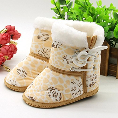 OverDose Baby-Mädchen Jungen neugeborenes Kleinkind Druck lädt weiche dicker Baumwolle vor alleinige Aufladungen warme Schuhe Walker 0-12 Monate Gelb4