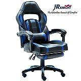 JR Knight lc-04bkbl Ergonomische Gaming Stuhl mit Fußstütze, Chemische Gamer Racing Design Home Office Computer Drehstuhl, PU-Leder Polsterung Schreibtisch Stuhl mit Liege und Chrom Boden