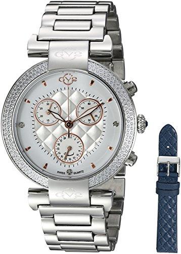 GV2by Gevril berletta Chrono–Cronógrafo con diamantes Swiss Quartz con adicional correa de cuero reloj de pulsera de acero inoxidable, (modelo: 1550)