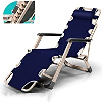 ZHIRONG Garden Lounge Chairs, Folding Lounge Chair, Portable Office Siesta Chair, Summer Beach Chairs, Sun Loungers, Outdoor Camping Chairs, Removable Mat, Blue (Size : A)