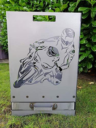 Gartendeko Fockbek Feuerkorb Motorrad inkl. Aschefach und Zwischenboden sehr stabil Maße ca. 40x40x60 cm (Motiv Motorrad/Flammen)