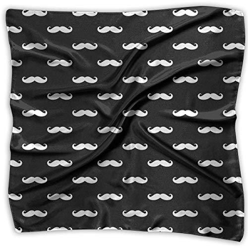 Elegant Women Silk Like Scarf Fashion White Moustache Satin Small Square Neck Scarves Polyester Neckerchief Satin Square Neck