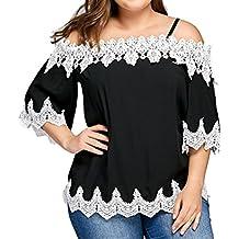 Camisetas Mujer Tallas Grandes,XS-4XL, LILICAT® Camisetas Elegantes sin Hombros con