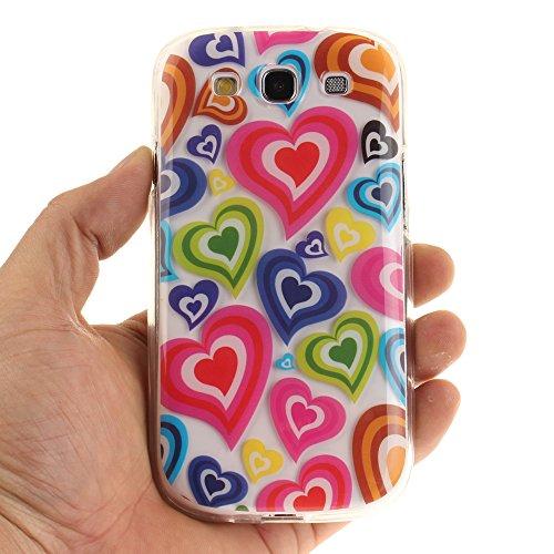 Samsung Galaxy S3 / I9300 hülle,MCHSHOP Ultra Slim Skin Gel TPU hülle weiche Silicone Silikon Schutzhülle Case für Samsung Galaxy S3 / I9300 (4,8 Zoll) - 1 Kostenlose Stylus (Schwarze Mandala Blume) Buntes Liebesherz