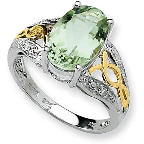 Icecarats Progettista Dimensioni Gioielli 7 Sterling Silver Quarzo 14K E Diamanti Anello Verde
