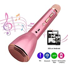 HooYL Micrófono Inalámbrico Portátil Bluetooth 3.0 Altavoz Incorporado para Karaoke Batería de 1800mAh 3.5mm AUX Compatible con PC/ iPad/ iPhone/ Smartphone, Color Rosado