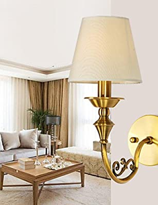 SSBY Classic Bedroom Wall Lamps, Simple Metal Living Room Wall Sconce Bar Cafe Hallway Balcony Wall Lamp
