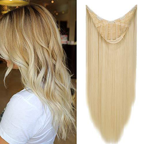 """TESS Clip in Extensions wie Echthaar Haateile Blond 1 Tresse 5 Clips U-förmig Haarverlängrung Synthetische Haare Glatt 26\""""(66cm)-200g"""