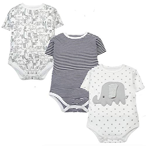 489f240e Tiny Alpaca Baby Boy Pack of 3 Short Sleeve Bodysuits Vest Multicoloured  (18-24
