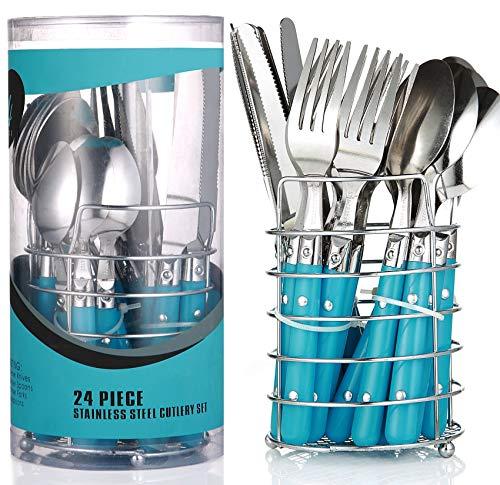 Besteckset mit Besteckkorb 24 teilig Blau   6 Person   Edelstahl - Spülmaschinenfest   Besteck set - Essbesteck mit Ständer