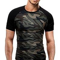 Camisas Hombre Camiseta Térmica de Compresión de Manga Corta para Hombre Slim Fitness Running Yoga Atlético