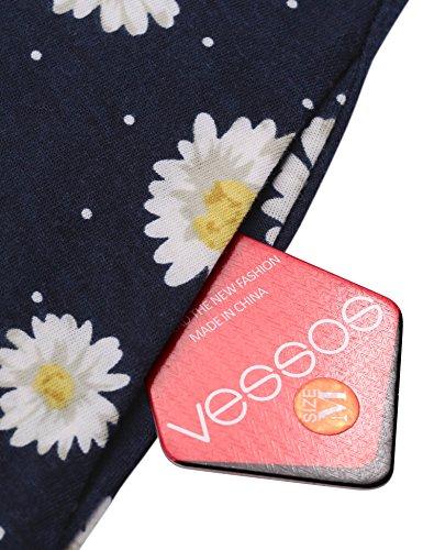 Vessos Damen Kleid A-Linie für Sommer Einfarbig Muster 13