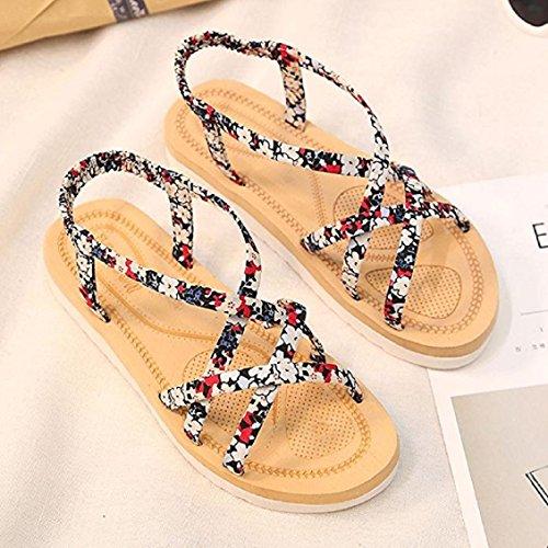 Benda Spiaggia Occasionale Sandali Infradito ® Donne Viaggio Transer Bohemien Era Fiore Rosse Da zUHqg4w
