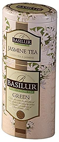 Basilur, Jasmine Tea & Ceylon Green Tea, Two Layered Designer Metal CaddyFruit & Flowers Collection, 100% Pure Ceylon, Single Origin (Pack of 1)