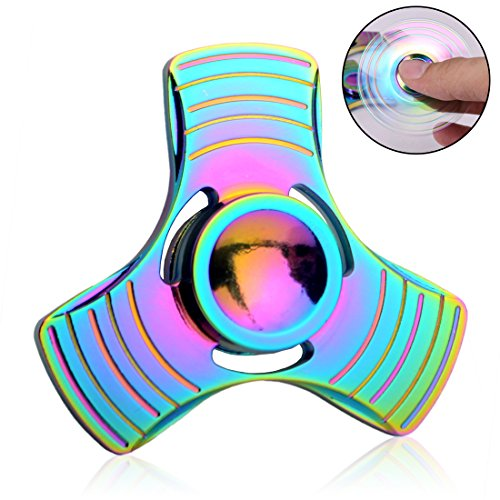 Fidget Rainbow Spinner - Fxexblin- Spielzeug Tri Hand Spinner Stresslöser ADD ADHS Konzentration - Regenbogen