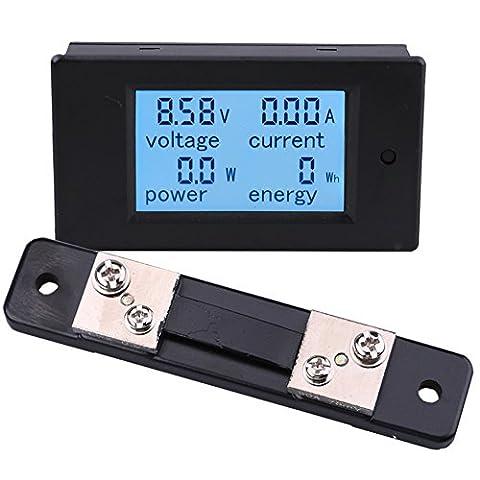 Yeeco Multimètre Numérique DC 6.5-100V 50A Voltmètre Ampèremètre Ampérage Tension Compteur D'énergie DC Volt Amp Courant Watt Compteur Jauge Display Power Moniteur LCD Numérique avec 50A / 75mV Shunt