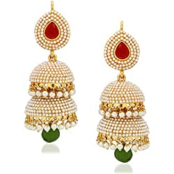 Meenaz Kundan Pearl Jhumka /Jhumki Ear rings For Girls Women in Traditional Ethnic Gold Plated J140