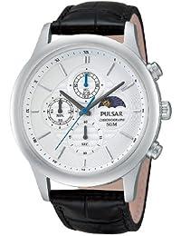 Pulsar Uhren Klassik PV9005X1 - Reloj cronógrafo de cuarzo para hombre, correa de cuero color negro (cronómetro)