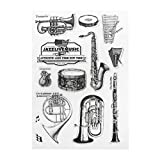 Mentin Instrument de Musique Tampon en Silicone Transparent Sceau Scrapbook Diary Album Album Carte S9