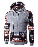 Herren Kapuzenpullover Slim Fit Druck Hoodie Sweatshirt mit Tasche Hell Grau XL