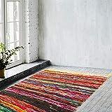 Naqsh Alfombra hecha a mano Chindi Rag - Alfombra amarilla tejida a mano ecológica multicolor de algodón reciclado reversible