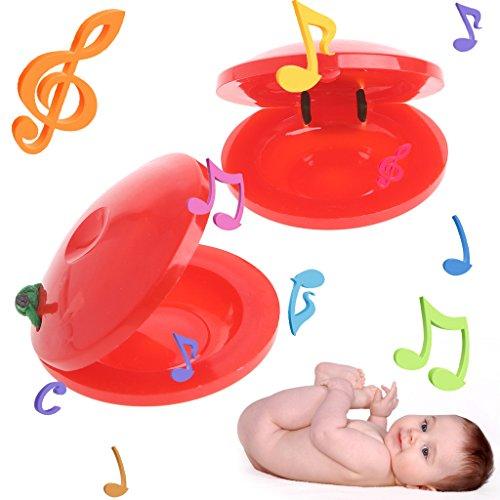 ECMQS Holz Percussion Kastagnetten Clackers Musikinstrument Kinder Pädagogisches Spielzeug