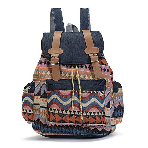 Tshopm Damen Rucksack aus Segeltuch im Vintage-Stil, Ethno-Stil, Bohemian-Stil, 3 (Schwarz) - Tshopm