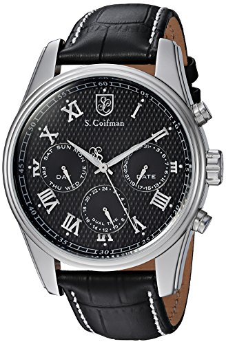 S. Coifman Men's 'Heritage' Quartz Stainless Steel and Leather Casual Watch, Color:Black (Model: SC0396)