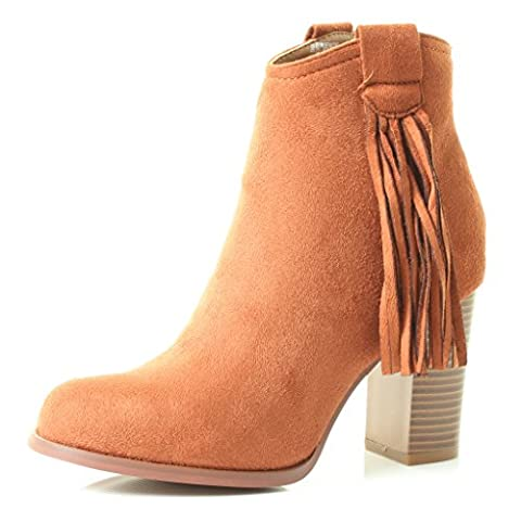 Womans New Ladies Cowboy Western Line Dancing Ankle Zips High Cuban Heel BootsTan Brown Boho Fringe Tassle Sizes 3 4 5 6 7 8