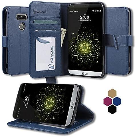 LG G5 Funda, Abacus24-7 LG G5 Funda Flip de Cuero Azul [Funda con Tapa] Soporte plegable y Bolsillos para Tarjete - Funda Cartera para Apple LG G5