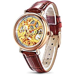Time100 Skeleton Apparent Space Automatical Plated Alloy Gold Case Genuine Leather Strap Mechanical Couple Wrist Watch (For Ladies) #W60026L.02A