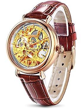 Time100 Damenuhr mechenische Skelett Uhr Automatik Leder Braun Gold #W60026L.02A
