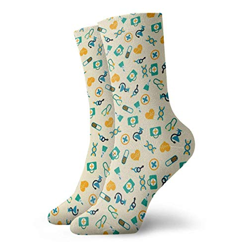 Eybfrre Colorful Medicine Pattern Crew Socks Casual Funny for Sports Boot Hiking Running Etc. -