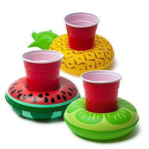 Aufblasbare Getränkehalter, Set mit 3 Stück, Ananas, Becherhalter für Pool, Schwimmbad, Partys, Kinderbadespielzeug