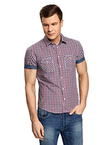 Oodji ultra uomo camicia aderente a bottoni a pressione, rosso, 39.5cm/it 44-46/eu 46-48/s