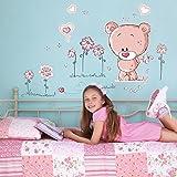 Teddy Bear Childrens Kids Nursery Baby Bedroom Wall Stickers Mural Art, Pink