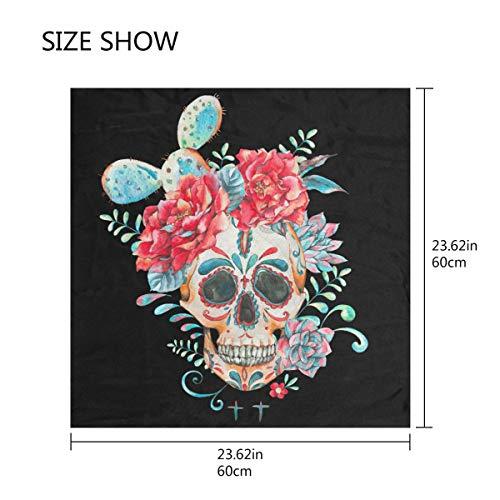 QMIN Seidenschal quadratisch Kaktusblüte Zucker Totenkopf Mode Kerchief Leichtes Haar Wrap Stirnband Tidy Halstuch für Frauen 60x60cm (Der Toten-stirnband Tag)