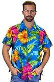 Funky Camisa Hawaiana, BigFlower, lightblue, M