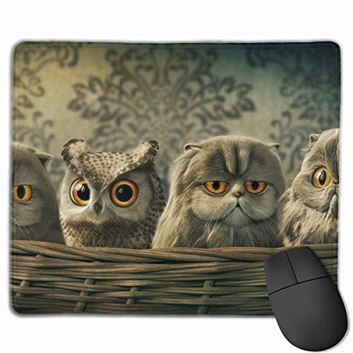 Customized Design Rechteck Rutschfeste Gummi Gaming Mousepad (niedliche Eule Infiltrat Katzenkorb)