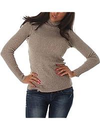 Voyelles Damen Feinstrick-Pullover Pulli Langarmshirt Sweatshirt mit Lamé  Glitzerfäden Glanzfaden Rollkragen Sweater dünn (34… 01fc51a6bf