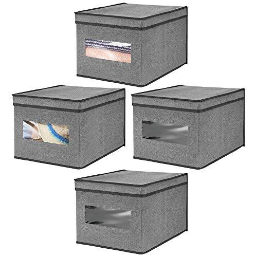 mDesign boîte de Rangement empilable (en Lot de 4) - Grande Caisse de Rangement avec Couvercle et fenêtre pour Chambre, Placard, etc. - Panier de Rangement vêtements en Fibre synthétique - Noir